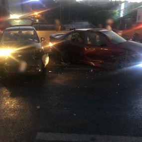 بالصورة: جريحان بحادث تصادم في الضبيه بسبب تأثير الكحول