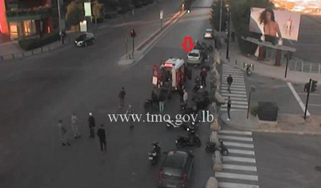 بالصورة: قتيل من جراء تصادم على تقاطع البورش - بيروت
