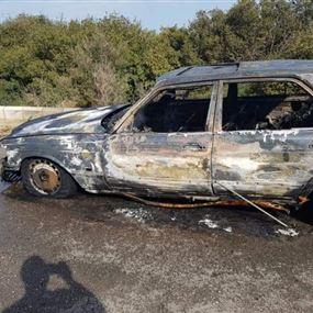 بالصور: إحتراق سيارة في دده