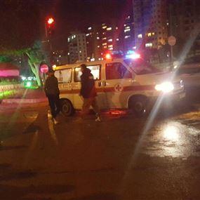 بالصور.. جريح في حادث سير عند مستديرة مار تقلا