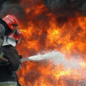 حريق كبير في كاليري شريف - بعلبك