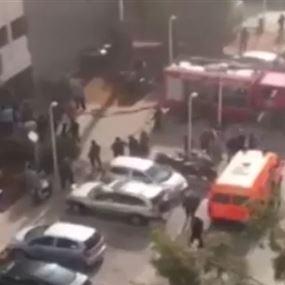 بالفيديو.. حريق في مستشفى رفيق الحريري الحكومي