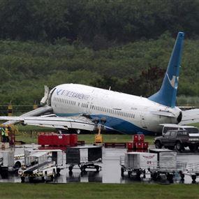 بالفيديو والصور: طائرة تنزلق بمانيلا وتحط على بطنها