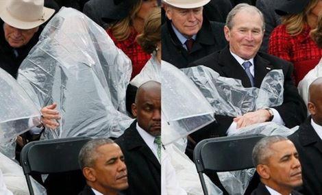 بالصور.. حاول أن تفهم ما الذي فعله بوش في حفل تنصيب ترمب
