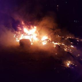 حريق التهم خمس سيارات مركونة في مرآب في سن الفيل