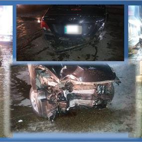 بالصورة: حادث سير مروع على جسر انطلياس نتيجة الكحول