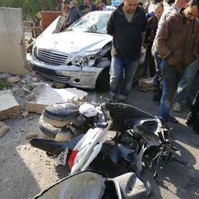 بالصور: جريحان وقتيل اثر حادث سير في القليلة