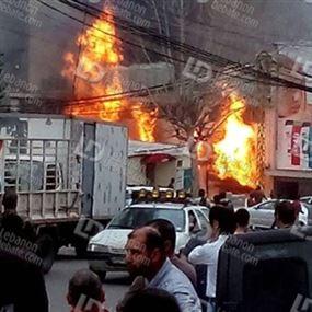 بالفيديو والصور.. انفجار خزان للغاز في ادونيس