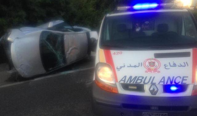 بالصور: جريح اثر حادث سير في العقيبة