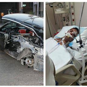 بالصور: حادث سير مروّع في المنصورية وخالد مسعود في العناية