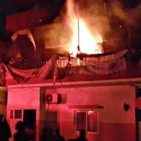 بالصور: حريق داخل شقة سكنية في مجدل عنجر
